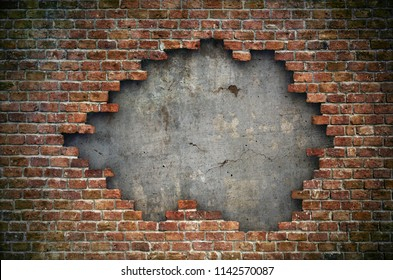 Old red brick wall damaged background