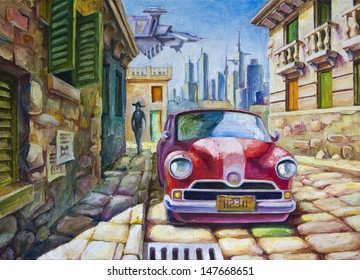 The old red car is standing at the sunny street of the southern city near the old colonial style architecture buildings. The oil painting 70x50 cm.
