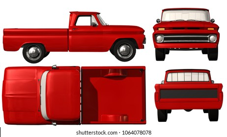 Old red Pickup Truck Templat isolated on white background - 3d render