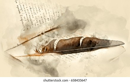 Old religious book with a bird's feather. Watercolor background