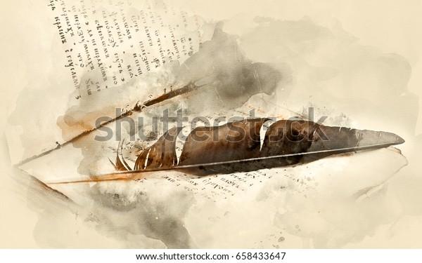Altes religiöses Buch mit Vogelfeder. Aquarell-Hintergrund