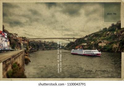 old retro postcard of the Douro river, Dom Luiz Bridge of  Porto, Portugal