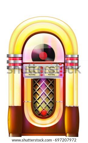Old Retro Style Jukebox Music Player Stock Illustration 697207972