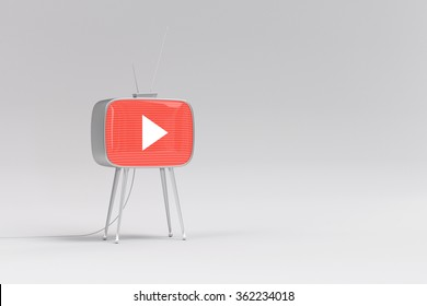 Old retro tv playing online video