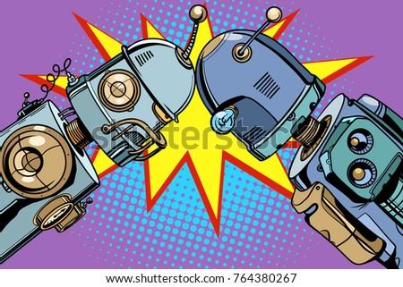 old robot vs new pop artのイラスト素材 764380267 shutterstock