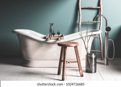 Old roll top chateau-style bathtub in a rustic bathroom with tiled floor, stool and ladder with two glasses of red wine on a wooden tray. 3d rendering