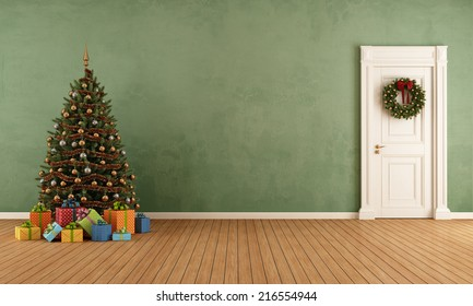 Old room with christmas tree,present and closed door - rendering