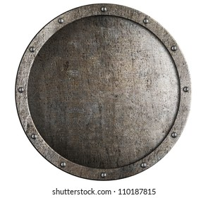 Old round metal medieval shield