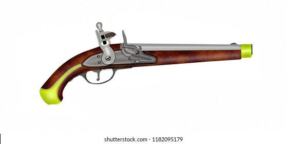 Old russian cavalry flintlock pistol.