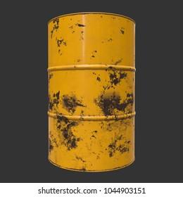 Old rust metal barrel oil on black background. 3d render illustration