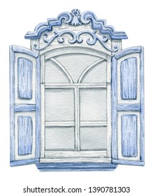 Old rustic window. Watercolor hand drawn illustration isolated on white