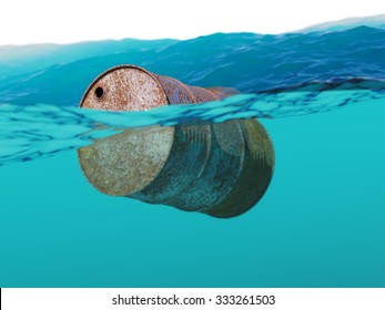 Old rusty barrel floating on the waves concept