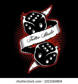 Old scholl dice tattoo design on dark background. (RASTER VERSION)