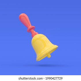 Old school bell or hand bell. 3d render illustration. Modern trendy design.