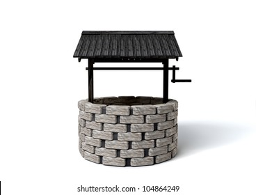 An old school brick well with a rickety wooden roof covering