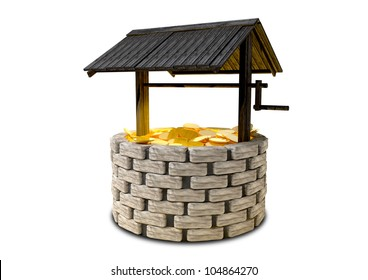 An old school brick wishing well with a wooden roof covering filled with shining gold coins