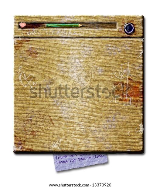 Old School Desk Graffiti Stock Illustration 13370920
