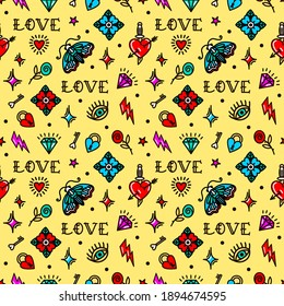 Old school tattoo seamless pattern with love symbols. Design For Valentines Day, Stilts, Wrapping Paper, Packaging, Textiles