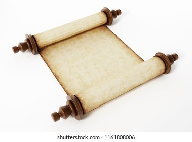 Old scroll isolated on white background. 3D illustration.