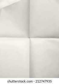 Old sheet of clean paper background folded for four - illustration