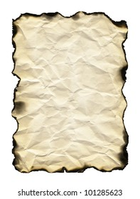 Old sheet of paper with burnt edges isolated on white background