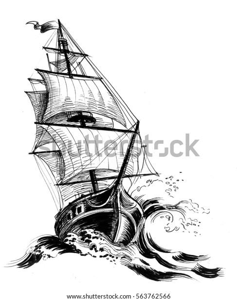 Illustration De Stock De Dessin D Un Ancien Navire 563762566