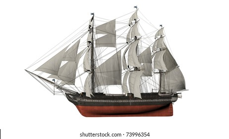 old ship isolated in white