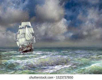 Old ship on the sea. Digital oil paintings sea landscape. Fine art, artwork