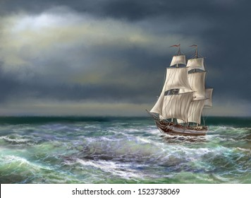 Old ship on the sea. Digital oil paintings sea landscape. Fine art, artwork