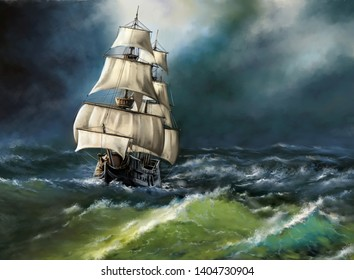Old ship in the sea. Digital oil paintings landscape. Fine art.