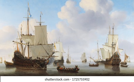 Old ship  . In the style of the ancient Dutch masters. Painting oil canvas 2020.