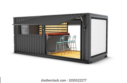 Old shipping container is converted into a chic coffee shop, 3d Illustration