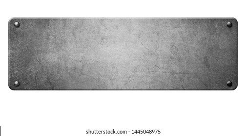 old silver metal plate with rivets on white background 3d illustration