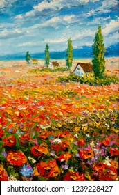 Old small village houses on a flower field of red poppies and cypress trees - Italian Tuscany - oil painting on canvas modern impressionism