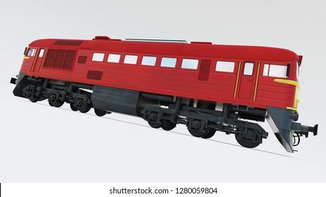 Old Soviet-built diesel locomotive. Retro train. 3d rendering