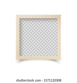 Old Square Photo Frame with Ornamental Edge. Retro Photo Blank with Shadow Isolated on White Background. illustration