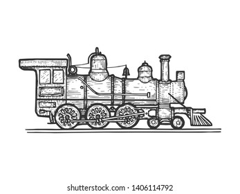 Old steam locomotive train transport sketch line art engraving raster illustration. Scratch board style imitation. Black and white hand drawn image.