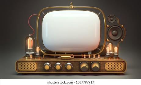 Old Steampunk TV. 3D Illustration