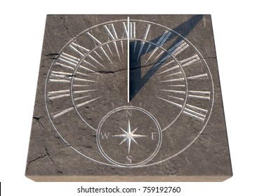 An old stone sundial with etched roman numerals standing an a monolithic rock base - 3D render
