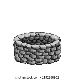 Old stone well. The structure of the rock. Element of rustic surroundings with white background. Device for water production.