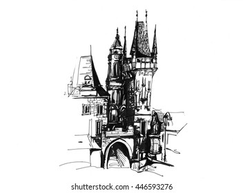 Old street city scape sketch