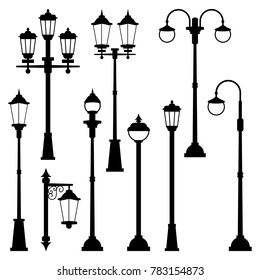 Old street lamps set in monochrome style. illustrations isolate. Urban lantern streetlight classic