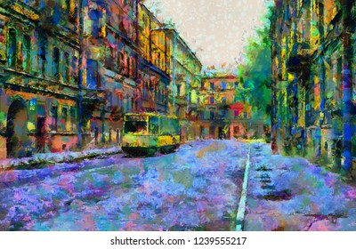 Old street of Petersburg with a tram in colorful tones of oil paint. Digital painting
