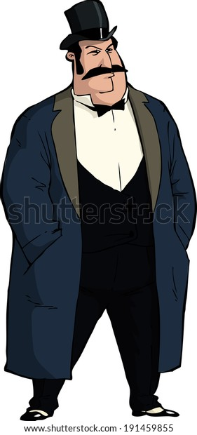 Old style businessman on a white background raster version