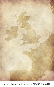 Old style map of Great Britain (England, Scotland, Wales and Ireland) on old paper..