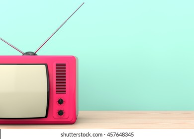 Old Style Photo. Classic vintage TV on the wooden table. 3d Rendering
