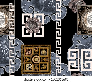 old style versace striped baroque in black background pattern