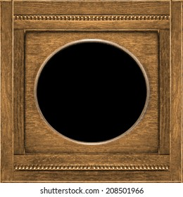 Old style wood material ornament photo frame template in brown tones and square format.