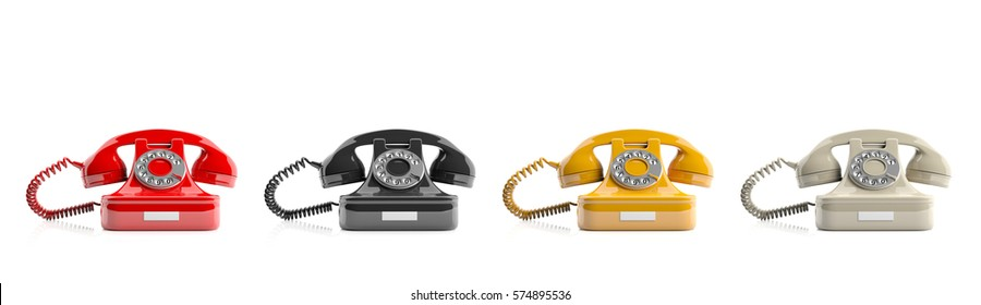 Old telephones isolated on white background. 3d illustration