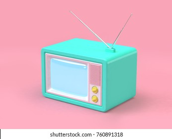 old television cartoon style on pink minimal background technology concept 3d rendering